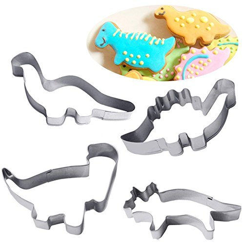 Feililong Stampi biscotti, Stampini per biscotti/per biscotti/taglierine per biscotti/pasta frolla/dolci/fondente, a forma di Dinosauri, il set contiene 4 stampini