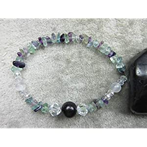 Genuine Rainbow Fluorite, Shungite, Selenite Healing Bracelet EMF Protection & Focus
