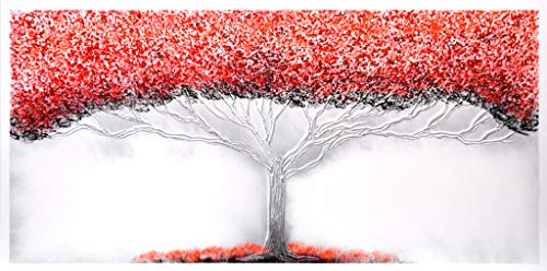 Cuadro Pintado Árbol de la Vida Rojo 140x70 cm 100% Original, con Piedras Brillantes y Reflejos Plata