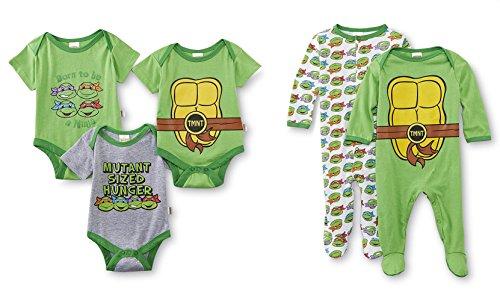 Nickelodeon Teenage Mutant Ninja Turtles 5 Pack Bodysuits & Coveralls (0-3 Months)