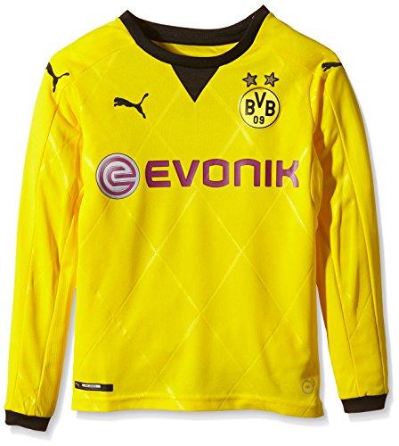 PUMA Kinder Trikot BVB Ambassador Long Sleeve Replica Shirt, Cyber Yellow, Black, 176