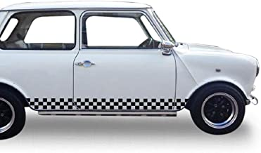 Bubbles Designs Set of Racing Checkered Flag Side Stripes Decal Sticker Graphic Compatible with Classic Mini S John Cooper Works