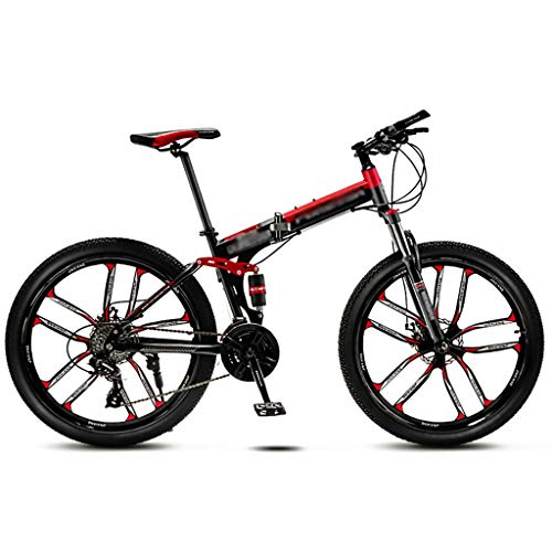 LWZ Mountain Bike 26 Inch Wheels Mountain Trail Bike Folding Outroad Bicycles 24-Speed Bicycle MTB Dual Disc Brakes Mountain Bicycle