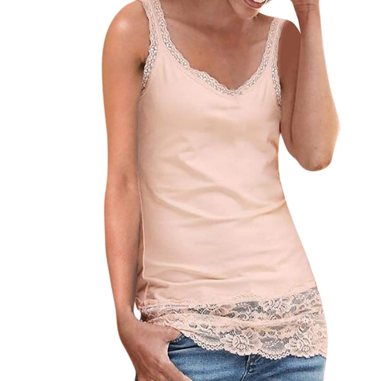 Xinantime Women's Lace Stitching Sleeveless Vest with Lace Trim Hem Embellished Beach Tank Top Shirt