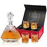 Billionth Barrel Crystal Glass Whiskey Decanter Set – 880ml with 4 x Glasses