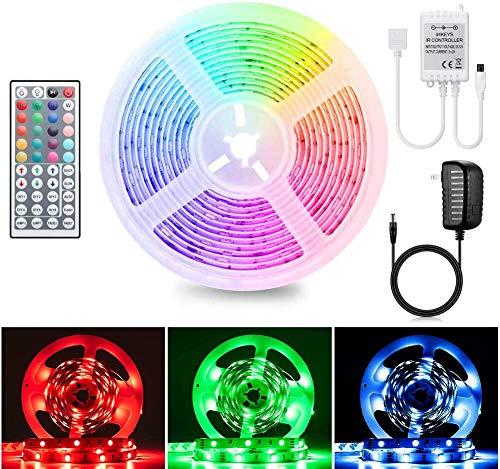 AUKI LEDテープライト ストリップライト USBライト SMD 5050 5M 両面テープ 防水 RGBテープ 正面発光 高輝度 切断可能 リモコン付き 屋内外装飾用 間接照明
