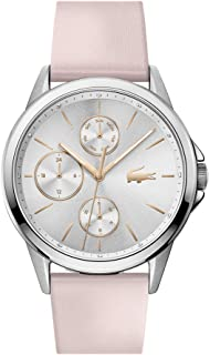 Lacoste Women's Silver White Dial Pink Leather Watch - 2001108