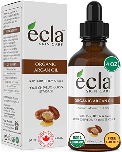 Argan Oil Organic 100% Pure USDA Certified, Moroccan Cold Pressed Unscented for Face, Hair, Skin, body and Beard (4 Oz - 120ml) Natural Moisturizer, Leave-in Conditioner for Split Ends and Frizzy hair