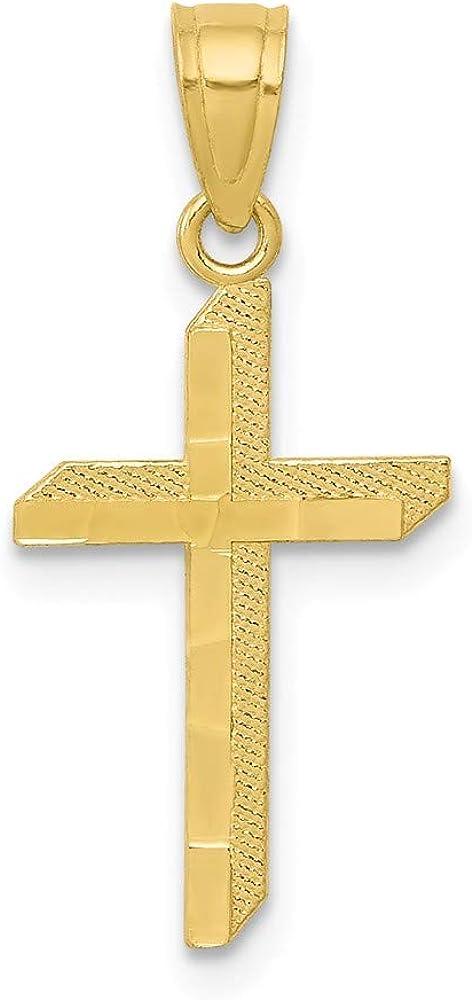 Solid 10k Yellow Gold Cross Pendant Charm - 20mm x 11mm