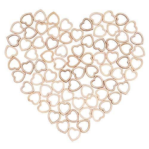 500 Mini Corazones de Madera 1.4cm  Pequeñas Rodajas de Corazón de Madera  Valentín Bodas Regalos Invitados Adornos Decoración de Mesa Fiesta Bricolaje.