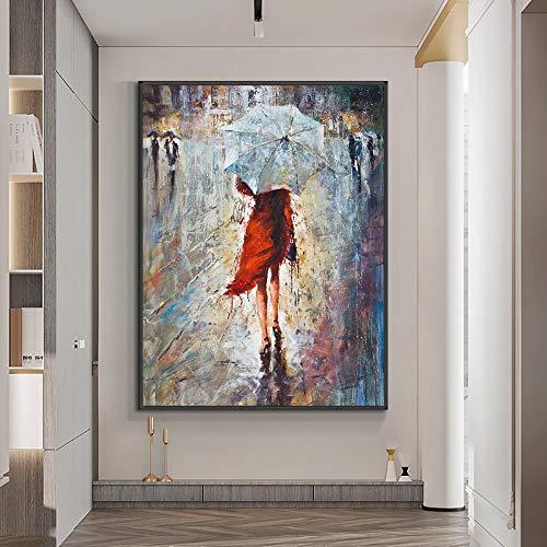 Chica Abstracta Caminando bajo la Lluvia con Paraguas Pintura al óleo sobre Lienzo. Arte de Pared de Textura Moderna para la decoración del hogar. Cuadro sin Marco 60x90cm