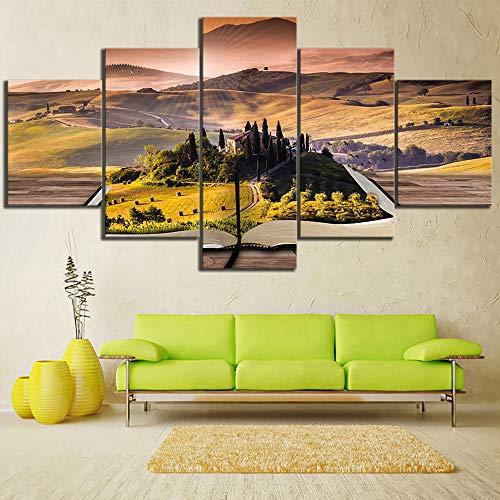 DGGDVP Afscheidenheid landschapsschilderij 5 stuks home HD-print schilderij kunstwerk muurkunst schilderijen canvas muurkunst woonkamer kunstwerk 30x40cmx2 30x60cmx2 30x80cmx1 Geen frame.