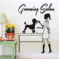 UYEDSR ウォールステッカーペットグルーミングウォールステッカー美容師と犬のクリエイティブビニールウォールステッカー動物サロンショップの装飾ウィンドウドアの装飾57x42cm