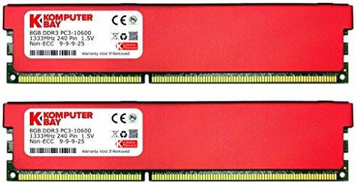 Komputerbay - Memoria RAM per sistemi desktop con dissipatore rosso, 8 GB, DDR3, DIMM a 240 pin, 1333 MHz, PC3-10600