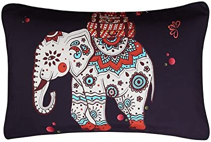 Ethnic Elephant With Tree Duvet Cover With 2 Pillow Cover Set Queen Yellow Art