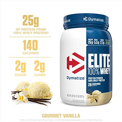 Dymatize Elite 100% Whey Protein Powder, 25g Protein, 5.5g BCAAs & 2.7g L-Leucine, Quick Absorbing & Fast Digesting for Optimal Muscle Recovery, Gourmet Vanilla, 2 Pound