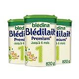 Blédina Blédilait Premium 1 (1er âge) - Pack de 3 Boîtes de 820 g - lait en poudre pour les bébés de 0 à 6 mois (nourrisson) - formule épaissie