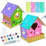 colmanda 2 Pcs Casa de pájaros para Pintar de Bricolaje, Kit de Casas de Pájaros de Madera DIY Casas de Pájaros Manualidades con Herramientas de Pintura Regalo para Niños
