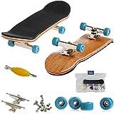 AumoToo Mini diapasón, Patineta de Dedos Profesional Maple Wood DIY Assembly Skate Boarding Toy Juegos de Deportes Kids (Azul Claro)