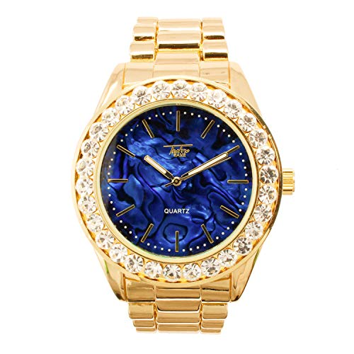 Mens Solitaire Bezel Iced Out Watch with Marble Dial Design and Adjustable Metal Strap - Bling-ed Out - Analog Display - Quartz Movement