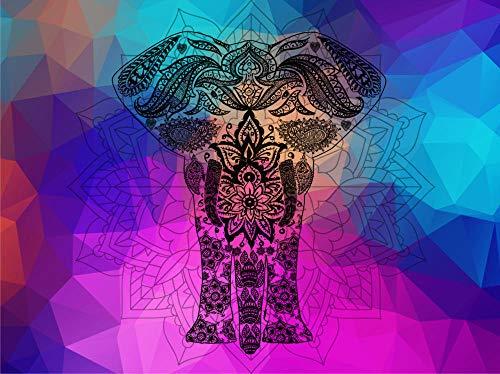 HQHff Elefante de Flor Mandala Colorido psicodélico,Puzzles Adultos 1500 Piezas 87x57cm,3D Puzzles de Madera Adultos Regalo de Juguete Educativo para niños