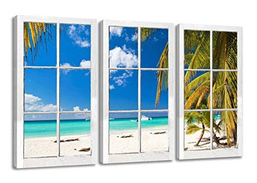 Visario Leinwandbilder 1164 Bild auf Leinwand Fenster mit Ausblick, Südsee, Urlaub fertig gerahmt, 3 Teile, 160 cm