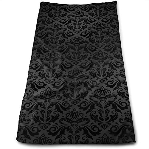 "Antvinoler Black Damask Arabesque Pattern On White Soft Bath Towel Absorbent Hand Towels Multipurpose for Bathroom Hotel Gym and Spa 27.5""X11.8"""