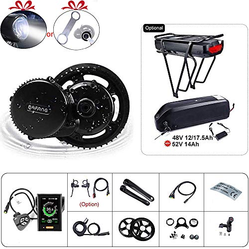 BAFANG BBS02B 48V 750W Ebike Motor with LCD Display 8fun Mid Drive Electric Bike Conversion Kit with Battery (P850C Display, Motor kit+52T Chainring+Rear Battery 48V 17.5Ah)