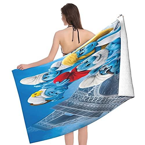 The Pitufos toalla de ducha, toalla de ducha súper absorbente y súper suave toalla de forro polar coral, gimnasio ajustable Jumbo toallas de baño, toallas de baño