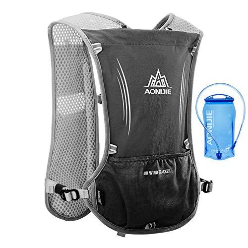 Sac d'hydratation léger par AONIJIE - Sac à dos pour activité en plein air, randonnée, cyclisme sport, doté de poche d'eau de 1,5 L, Noir