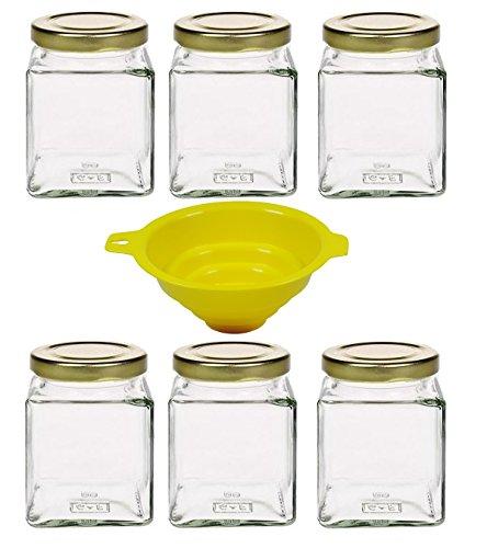 mikken 6 tarros de cristal de 210 ml, con tapón de rosca (color dorado), incluye embudo, cristal, 12 unidades
