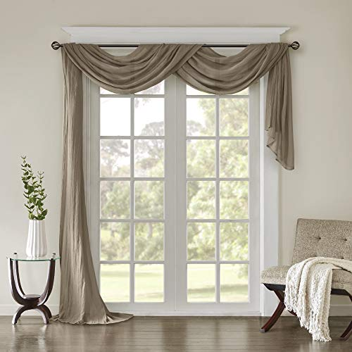 "Madison Park Harper Sheer Bedroom, Modern Contemporary Window Curtain for Kitchen, Solid Fabric Panels, 42"" x 216"", Taupe"