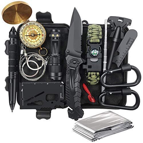 Unihoh Survival Kit 15 in 1, Außen Notfall Survival Ausrüstung Set mit Messer, Armband, Taschenlampe,Rettungsdecke Optimal für Campen & Wandern Outdoor Abenteuer Überlebens Kit