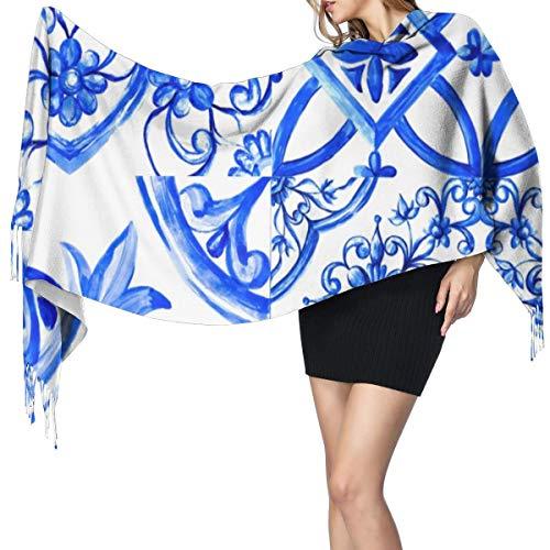 Fransenschal für den Winter,lang,weich,Kaschmir-ähnlich,Italienisches Majolika-Aquarell auf Keramikfliesen in den blauen Farben gemütliches dekoratives Langer Schal,Warmer Schal
