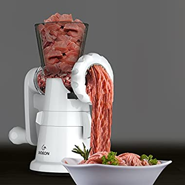 Gideon Hand Crank Manual Meat Grinder with Powerful Suction Base/Heavy Duty with Stainless Steel Blades/Quickly and Effortlessly Grind Meat, Vegetables, Garlic, Fruits, etc.