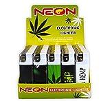 Hemp Art Neon Electronic Disposable Lighters, Wholesale Pack Lot Assorted Lighter (50)