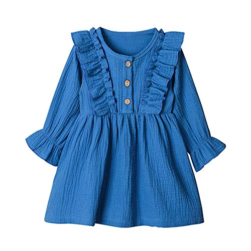 Arleysh Toddler Baby Girls Clothes Cotton Linen Button Dresses Cute Ruffle Princess Party Dress Long Sleeve Solid Ruffle Tops (Blue, 12-18 Months)