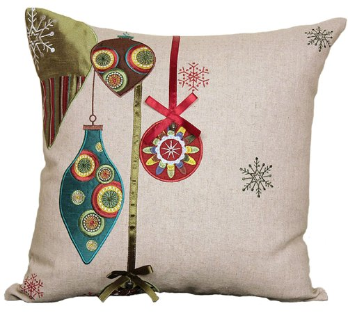 Manor Luxe Noel Ornaments Embroidered Christmas Decorative Pillow Feather/Down Filled with Ribbon and Jingle Bell Accents, 18 by 18-Inch
