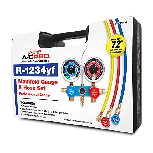 InterDynamics Certified AC Pro Car Air Conditioner R1234YF Refrigerant Gauge and Hose, Reusable AC Recharge Kit, 72 in, CERTYF102-4