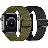 2 Pack Stretchy Straps Compatible with Apple Watch Bands 42mm 44mm, Adjustable Braided Solo Loop Nylon Bands Compatible for iwatch Series 6/5/4/3/2/1/SE Men & Women (Army Green/Black, 42/44mm)