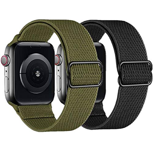 2 Pack Stretchy Straps Compatible with Apple Watch Bands 42mm 44mm, Adjustable Braided Solo Loop Nylon Bands Compatible for iwatch series 6/5/4/3/2/1/SE Men & Women, Army Green/Black