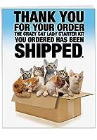 "Cat Ladyスターターキット誕生日ユーモアGreeting Card 1 Jumbo (8.5x11"") Card & Envelope (SKU:J8016)"