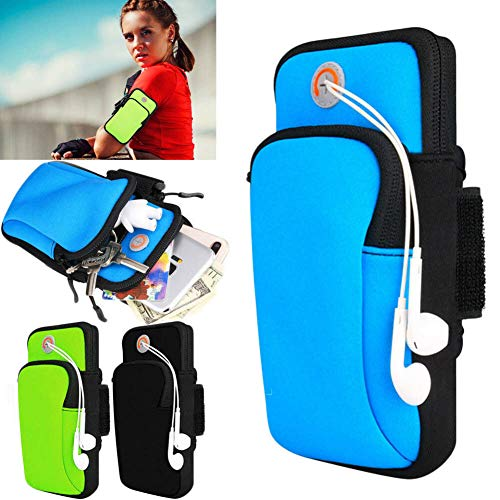 2pcs Sport Armband Phone Bag Running Gym Arm Band Cinturón Funda para iPhone Samsung (Negro)