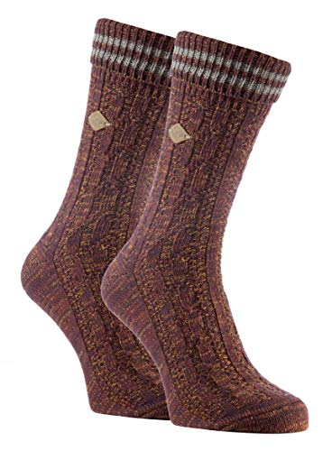 FARAH® - 2er Pack Herren Vintage Qualität Baumwolle Socken mit Gestreift (39/45, 06 Deep Red/Slate)