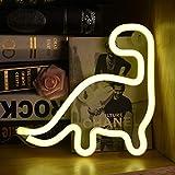 Luce notturna a LED al neon, luce bianca calda, a forma di dinosauro, decorazione da parete, luce creativa, alimentazione a batteria o USB, per bambini, soggiorno