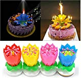 Aderpmin Rotating Lotus Cạndlê Birthday Cake Flower Musical Music Cạndlê Whit Music Magic,Birthday Party Decoration,Random Color (3pcs)
