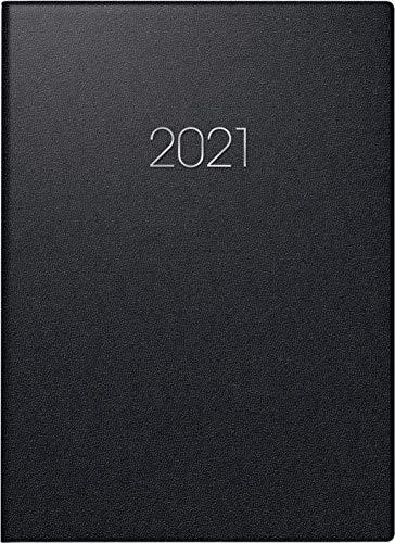 Brunnen 1079660901 Buchkalender Modell 796, 2 Seiten = 1 Woche, 14,8 x 20,5 cm, Balacron-Einband schwarz, Kalendarium 2021