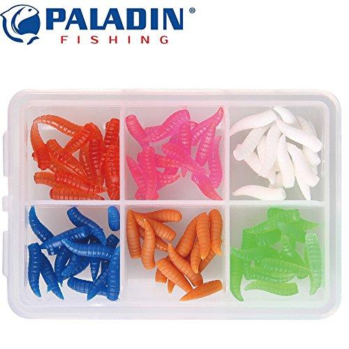 Paladin Farbmaden Set - 90 Gummimaden zum Forellenangeln, Gummimade zum Angeln am Forellenteich, Forellenköder, Kunstköder