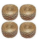 Youery Cordel de Yute 4 Rollo 100m de Cuerda de Cáñamo Natural Vintage de Cuerda de Cáñamo para Bricolaje Artes Manualidades y Decoración Materiales para Jardinería