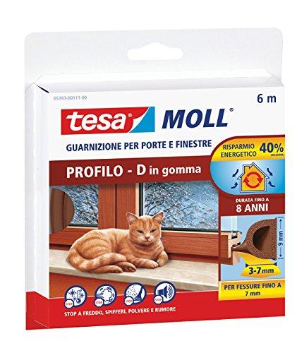 Tesa 05393-00111-00 Guarnizione in Gomma per Porte e Finestre tesamoll Profilo D, 6m x 9mm, Marrone